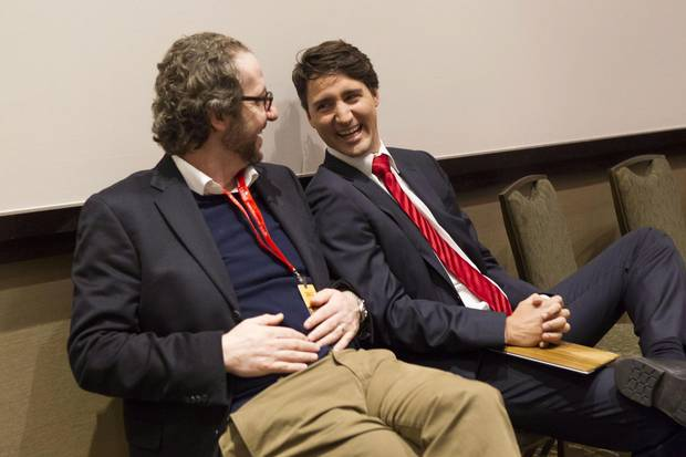 Above, the two men share a laugh after the Liberal leadership debate in 2013.