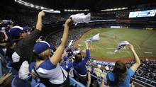 Fans in the 500 level stands during the Toronto Blue Jays home opener against the Boston red Sox at the Rogers centre on April 9 2012. (Fred Lum/Fred Lum/The Globe and Mail)