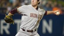 Arizona State's Ryan Kellogg starts against Cal State Fullerton during the NCAA college baseball regional tournament game, Saturday, June 1, 2013, in Fullerton, Calif. (Rod Veal/The Associated Press)