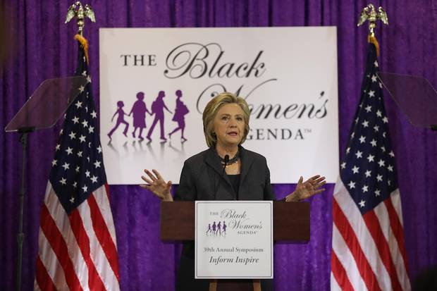 Hillary Clinton speaks during the Black Women's Agenda's 29th Annual Symposium after taking some time off to recover from pneumonia.