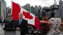 Randy Kamp, parliamentary secretary of Fisheries and Oceans, announces an in-shore rescue boat station will be set up at the navy facility HMCS Discovery in downtown Vancouver on Jan. 8, 2013. (Deborah Baic/The Globe and Mail)