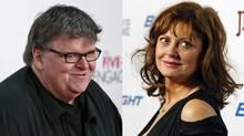 Michael Moore in New York, April 18, 21012; Susan Sarandon in Los Angeles, March 7, 2012. (Lucas Jackson / Reuters; Mario Anzuoni / Reuters)