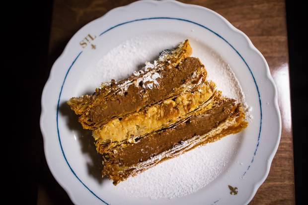 Mille-feuilles chocolat-cafe, puff pastry with chocolate and coffee cream.