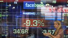 Facebook stocks fell well below the IPO price of $38 a share on Monday. (Richard Drew/AP)