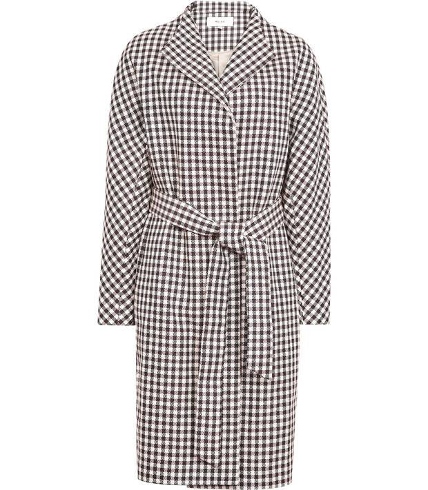 Mae checked trench coat, $595 at Reiss (reiss.com).