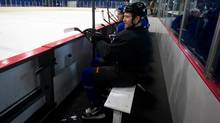 San Jose Sharks defenceman Jim Vandermeer sits on the bench during practice with the University of British Columbia Thunderbirds hockey team at UBC in Vancouver, B.C., on Monday January 7, 2013. (DARRYL DYCK/THE CANADIAN PRESS)