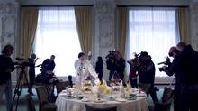 General manager Tim Reardon and executive chef Daniel Schick displaying the final table settings and breakfast presentations for The King Edward Hotel's royal wedding celebration. (Peter Power/The Globe and Mail/Peter Power/The Globe and Mail)