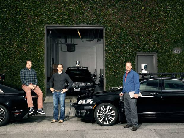 The three amigos (left to right): Urmson, Sterling Anderson and Drew Bagnell show off their fleet of self-driving cars in Palo Alto