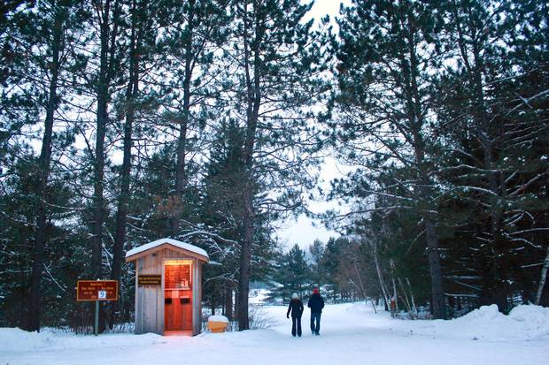 Mew Lake Campground in Ontario's Algonquin Provincial Park has yurts that are heated and have electrical outlets.