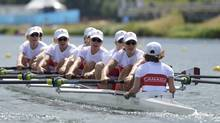 The Canada team rows in the women's eight heat at Eton Dorney during the London 2012 Olympic Games July 29, 2012. (Reuters)