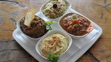Four dips platter (Neze Tabagi) at Anatolio, which serves home-made traditional Turkish cuisine in Etobicoke. (J.P. Moczulski For The Globe and Mail)
