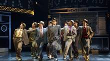 Shawn Wright as Nathan Detroit with the cast from the Shaw Festival's Guys and Dolls. (David Cooper/Shaw Festival)