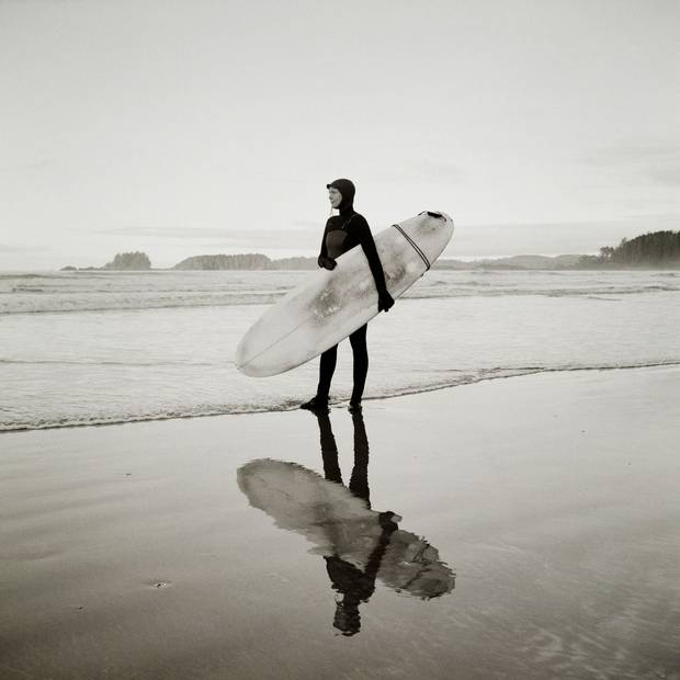 Originally from Ontario, Jennifer Smallwood moved to Tofino in 2001 after connecting with surfing while traveling in warmer climates. What started as a fear of the ocean developed into a love. 'I think we have a playful surf community that's inclusive – it stretches all the boundaries of young and old [and] gender[s],' she said. Compared to places like Hawaii, California and Australia, Tofino's surf scene is young: 'We're all grommets – still frothing at the new experience,' she said.