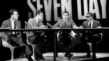 Robert Hoyt, Ken Lefolii, Douglas Leiterman, and Patrick Watson on the set of This Hour Has Seven Days in the 1960s. Seven Days was an irreverent hour of television that didn't shy away from controversial subject matter during its run from October, 1964, to May, 1966. (HANDOUT)
