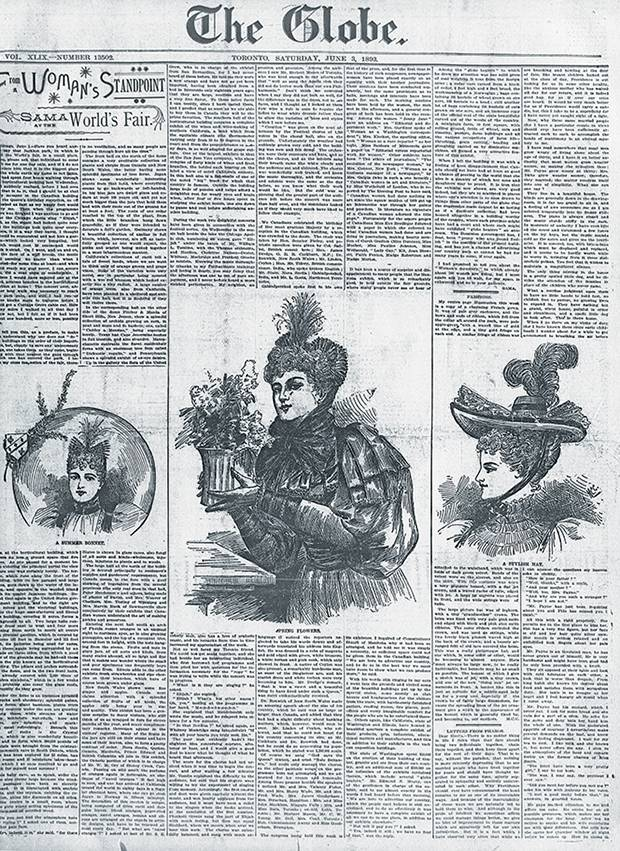 A Globe page from the 1890s, featuring Mrs. Willoughby Cummings's From A Woman's Standpoint.