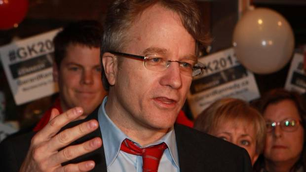 Gerard Kennedy, former Ontario education minister, announces his bid for leader of the Ontario Liberal Party Monday, Nov. 12, 2012 at a coffee shop in London, Ont.