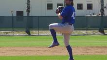 Toronto Blue Jays knuckleballer R.A. Dickey pitches Saturday, March 15, 2014 in Clearwater, Fla., in a minor league outing against a Philadelphia Phillies squad. (NEIL DAVIDSON/THE CANADIAN PRESS)