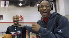 Toronto Raptors' Jarrett Jack, left, laughs with Demar DeRozan as they joke around at the end of practice on the second day of training camp in Ottawa, Ont., Wednesday September 30, 2009. THE CANADIAN PRESS/Sean Kilpatrick (Sean Kilpatrick)