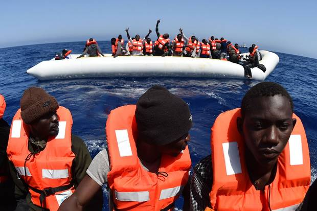 Migrants and refugees are rescued during an operation in the Mediterranean with the Aquarius, a former North Atlantic fisheries protection ship now used by humanitarian groups, on May 24, 2016, off the Libyan coast.