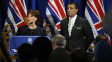 B.C. Premier Christy Clark, joined by Minister of Advanced Education Amrik Virk, speaks during a commemoration in Victoria of the 100th anniversary of the arrival of the ship Komagata Maru and its passengers. (Chad Hipolito for The Globe and Mail)