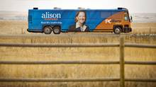 Alberta PC Leader Alison Redford's campaign bus travels through the countryside near Aldersyde on March 27, 2012. (Jeff McIntosh/Jeff McIntosh/The Canadian Press)