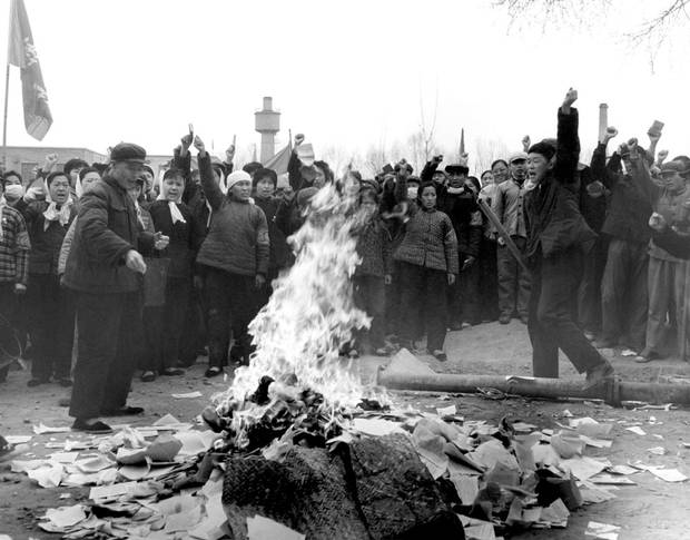 Chinese people burn books in 1966, during the country's Cultural Revolution, a state-led campaign to destroy literature, art and architecture deemed not revolutionary or modern enough.