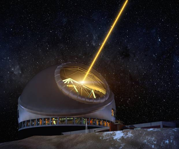 A laser on Thirty Meter Telescope will help the observatory take space-quality images.