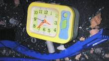 One of the alarm clocks found in the Nissan Pathfinder that was used in the attempted attack on Times Square earlier this month. (AP/New York Police Department)