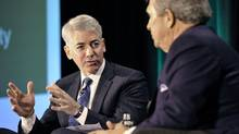 Activist shareholder William Ackman of Pershing Square Capital Management speaks beside Hunter Harrison (R) during the Canadian Pacific Railway Ltd. shareholders and analysts meeting in Toronto February 6, 2012. (REUTERS/Mike Cassese/REUTERS/Mike Cassese)