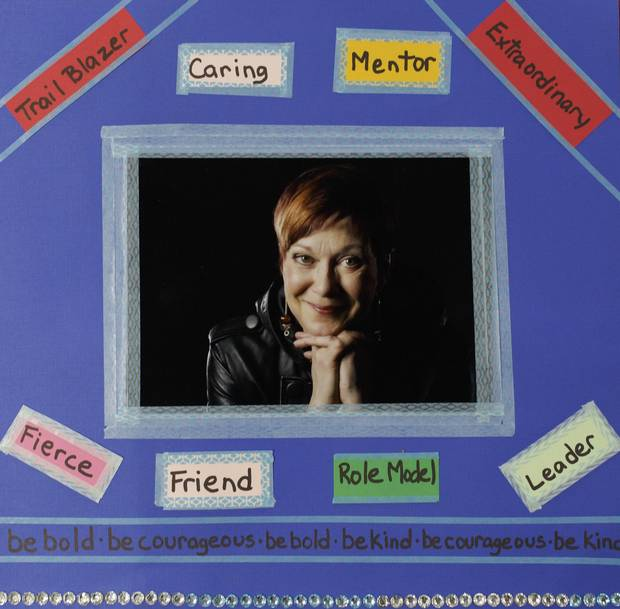 A memorial scrapbook page to Ruth Kelly.