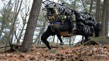 DARPA and Boston Dynamics were developing a four-legged robot, the Legged Squad Support System (LS3), to integrate with a squad of Marines or Soldiers. (Courtesy of DARPA)