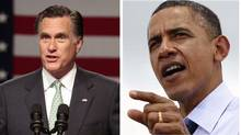 (L) Mitt Romney pictured in Lansing, Michigan May 8, 2012 and U.S. President Barack Obama in Port of Tampa in Florida, April 13, 2012. (REUTERS/Rebecca Cook and REUTERS/Kevin Lamarque/REUTERS/Rebecca Cook and REUTERS/Kevin Lamarque)
