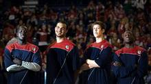 Bol Kong Robert Sacre, Kelly Olynyk and Manny Arop are Gonzaga University's four Canadian players in Spokane, Wash. (Rajah Bose/Rajah Bose/THE GLOBE AND MAIL)