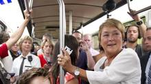 Parti Québécois Leader Pauline Marois rides the subway in Montreal on Aug. 2, 2012. (Paul Chiasson/THE CANADIAN PRESS)
