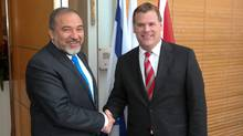 Canadian Foreign Minister John Baird meets with Israeli Foreign Minister Avigdor Lieberman at the Foreign Ministry in Jerusalem, Israel, on Wednesday, 1 February, 2012. (Mati Milstein)