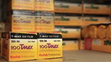 Rolls of Kodak TMax film are seen on a camera store shelf in New York, Jan. 5, 2012. (BRENDAN MCDERMID/Brendan McDermid/Reuters)
