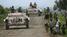 In this November, 2008, file photo, United Nations peacekeepers patrol near Rutshuru, about 80 kilometers north of Goma in eastern Congo. (Jerome Delay/AP)