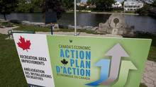 A Camada's Economic Action Plan sign is pixtured in Mississippi Mills, Ont., August 23, 2010. (Adrian Wyld/THE CANADIAN PRESS)