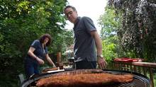 When Lucy Waverman wanted to learn about using a smoker she sought out her friend Doug Pepper to be her guide. (Gloria Nieto/The Globe and Mail)