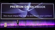 "Facebook Director of Marketing Mike Hoefflinger announces a new ""Premium on Facebook"" service described as ""the most impactful way to distribute content"" as he delivers a keynote address at Facebook's ""fMC"" global event for marketers in New York City, February 29, 2012. (MIKE SEGAR/Mike Segar/REUTERS)"