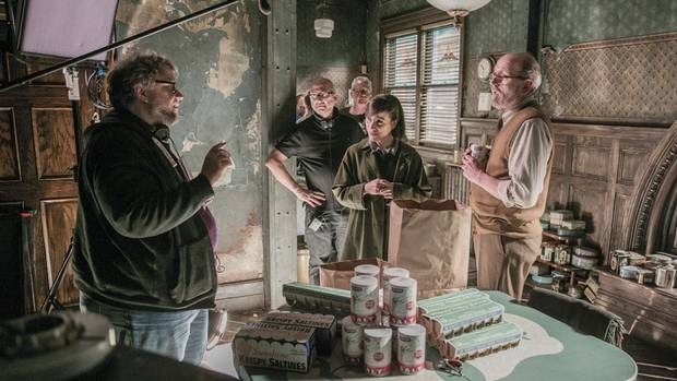 Richard Jenkins, Guillermo del Toro, and Sally Hawkins in The Shape of Water.