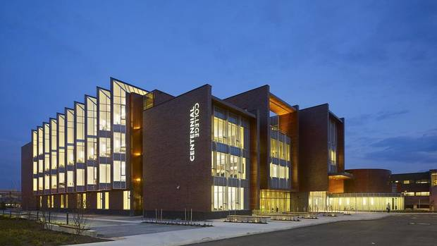 A night view of Centennial College's new multi-purpose library and academic building in Scarborough, an eastern suburb of Toronto. It's designed to be the gateway to the college's main campus. (Diamond and Schmitt Architects)