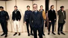 J. Crew men's wear designer Frank Muytjens poses on the runway at the J.Crew Fall 2012 Presentation during New York Fashion Week at Lincoln Center on February 14, 2012 in New York. (Dario Cantatore/Getty Images)