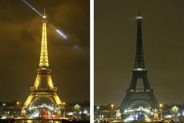 The Eiffel Tower was switched off just after midnight on Jan. 31 in memory of the victims of the attack in Quebec.