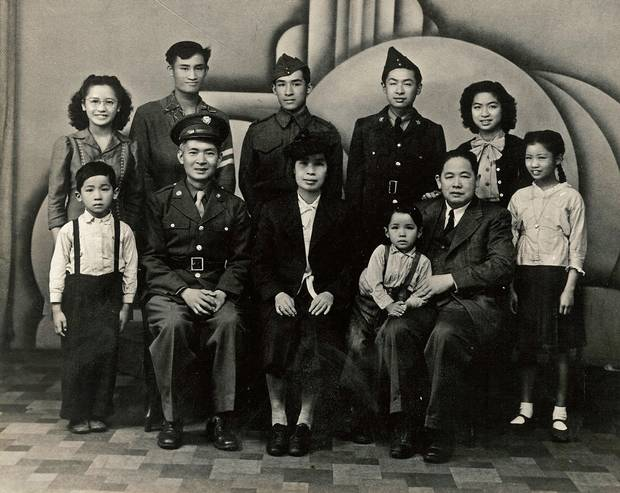 The Wong family in 1946. Bill Wong (back row, third from left) was a student at UBC at the time, and he and his brother Jack, second from left, belonged to the Reserve Officers' Training Corps.