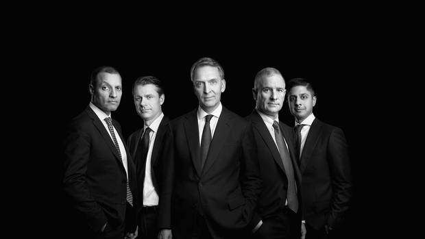 The Brookfield bosses (left to right): Cyrus Madon, Brian Kingston, Bruce Flatt, Sam Pollock and Sachin Shah