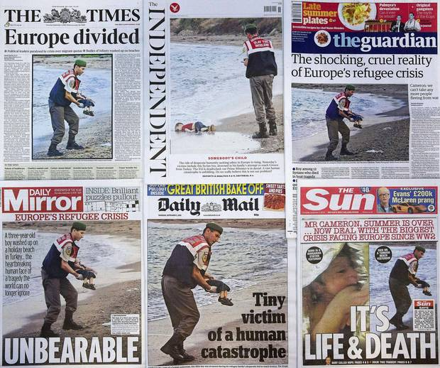 Newspapers the world over, including these from Great Britain, each made the choice to publish front-page photos of the body of a Syrian refugee toddler washed up on a Turkish beach.