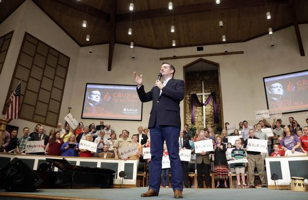 Republican presidential candidate Senator Ted Cruz speaks during a campaign rally at Central Baptist Church in Kannapolis in North Carolina. The state holds its primary on March 15, a day that will see several key states and delegates up for grabs.