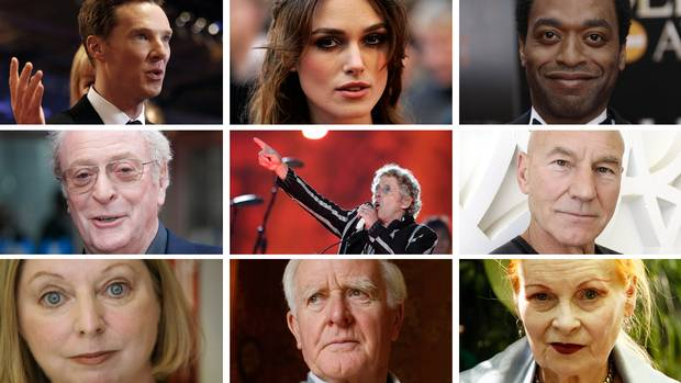 Clockwise from top left: Benedict Cumberbatch, Keira Knightley, Chiwetel Ejiofor, Sir Patrick Stewart, Vivienne Westwood, John Le Carré, Hilary Mantel, Michael Caine, Roger Daltrey.