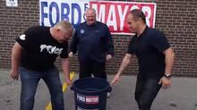 Toronto Mayor Ford prepares to do the ALS ice-bucket challenge. (YouTube screen shot)